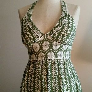 Trixxi Green & Cream Halter Dress EUC